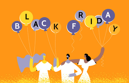 Season sale poster. Group people with holiday balloons with the text black friday invites to shopping. Discount, promotion, online shopping concept in moden flat style.