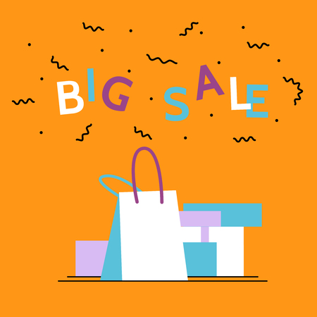 Big sale season poster.Online shopping,discount, commercial message concept for mobile app,landing page, banner in moden flat style.