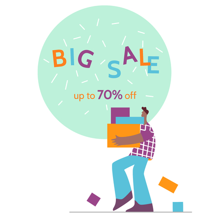 Man offers big sale season poster.Online shopping,discount, commercial message concept for mobile app,landing page, banner in moden flat style.