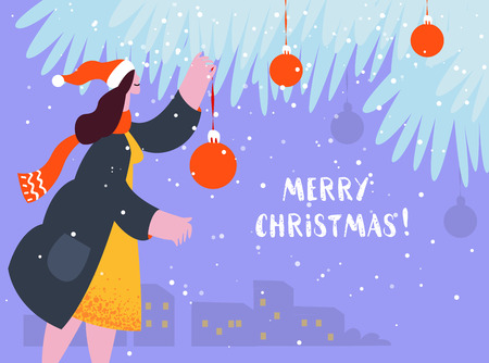 Christmas holiday card. People celebrated xmas. Young woman decorated christmas tree on the street. Vector illustration moden flat style