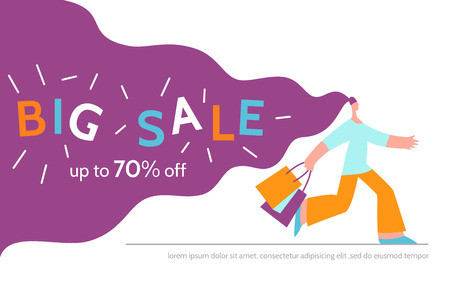 Woman offers big sale season poster.Online shopping,discount, commercial message concept for mobile app,landing page, banner in moden flat style.