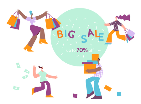 Set character with shop bag big sale.Online shopping,discount, commercial message concept for mobile app,landing page, banner in moden flat style.
