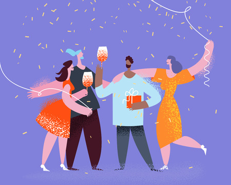 Group of friends making party,celebration birthday, carnival, anniversary.Corporate, celebration and holidays concept moden flat style. Vector illustration