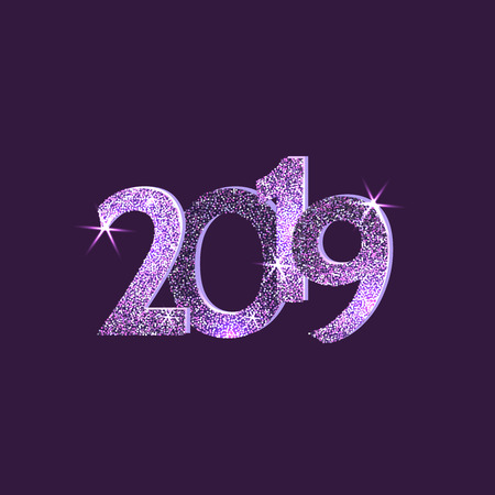 2019 Happy new year. Numbers purple Glitter Design greeting card. Vector illustration. Иллюстрация
