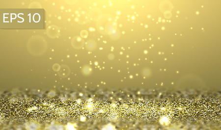 Yellow glitter lights vector background. 3d abstract glow horizontal scene for party, christmas,birthday,festive template