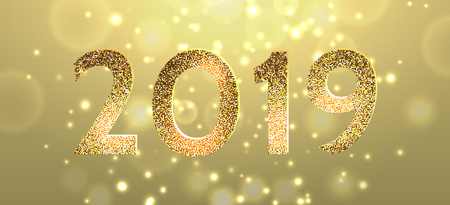 2019 Happy new year. Numbers golden glitter confetti and Yellow glitter lights vector background. 3d abstract glow horizontal scene for christmas card, template, calendar