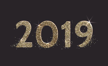 2019 Happy new year. Numbers golden glitter confetti design greeting card. Vector illustration.