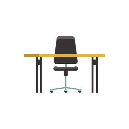 Icon office furniture view front nobody. Business table and chair isolated.Vector illustration flat style