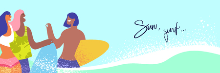Group surfers walking on the beach. Happy young people leisure at the seaside in the summer Illustration