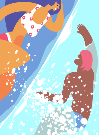 Concept pool party.Couple young people swim in the sea, pool or on a tropical beach. Trip to the seaside, rest sea travel, holiday and summer leisure
