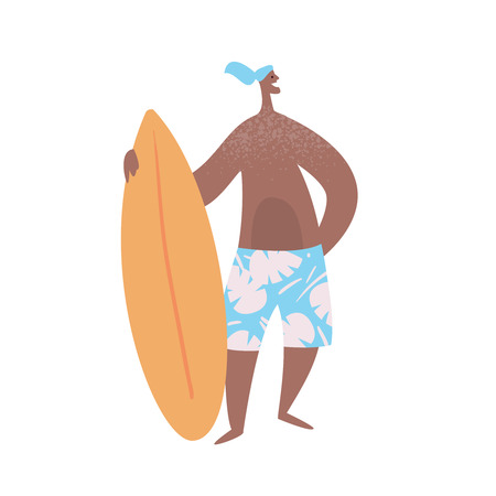 Surfer with surfboard stand on white background. Summer vacation on the beach. People relax on the sea