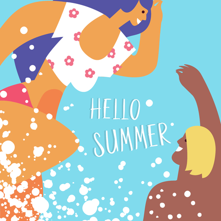 Couple young people swim in the sea, pool or on a tropical beach. Concept trip to the seaside, rest sea travel, holiday and summer leisure