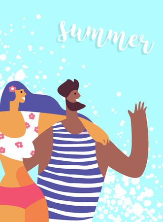 Couple young people on a tropical beach. Concept trip to the seaside, rest sea travel Illustration