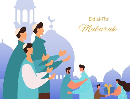 Eid al-Fitr Mubarak greeting card. Muslim people feast of breaking the fast. Muslim community praying, give gifts, charity and congratulate each other.