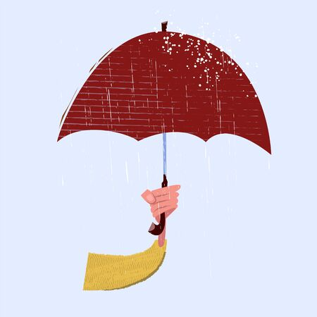 Arm hand holds umbrella and rotection from rain. Seasonal vector illustration