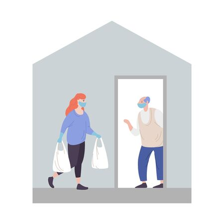 Volunteer delivers donations elderly people home coronavirus pandemic. Young female with packages in hands carrying necessities old citizen. Concept assistance and support people risk virus infection Vettoriali