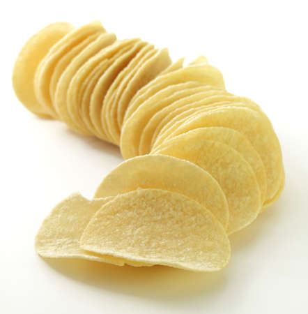 stack of potato chips isolated on a white background