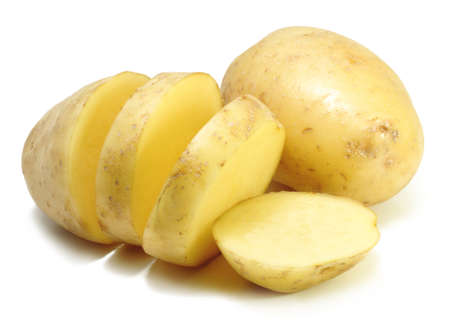 Cuts of an golden potato on a white background Stock Photo