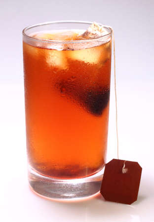 ice tea: A glass of iced tea drink isolated on a white background