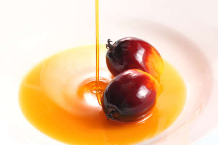 red palm oil: Pouring cooking oil on white background with oil palm fruits