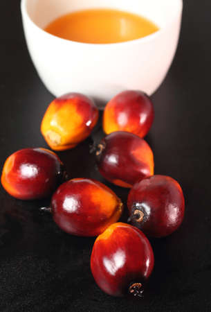 Oil palm fruits and a bowl of oil on a black background photo