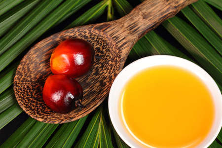 Oil palm fruits and a plate of cooking oil on leaves background photo