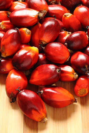 a bunch of oil palm fruits on a timber background