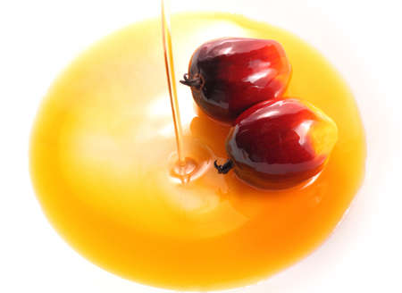 cooking oil: Pouring cooking oil on white background with oil palm fruits