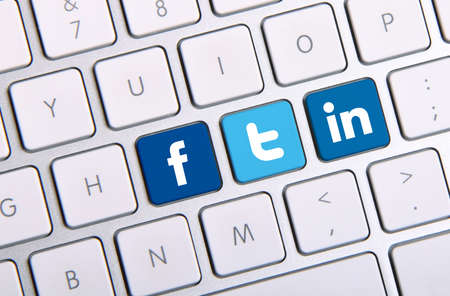 Johor, Malaysia - Sep 13, 2013: Facebook, Twitter and Linkedin icon on keyboard. There are famous website in the world, Sep 13, 2013 in Johor, Malaysia. Editorial