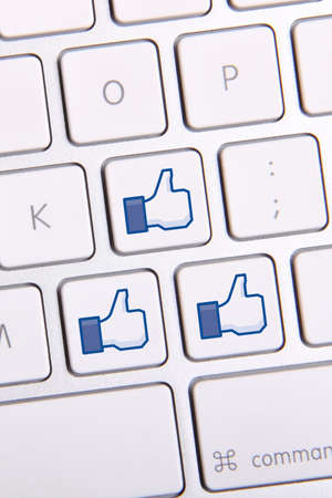 Johor, Malaysia - Sep 13, 2013: Photo of Facebook like icon keyboard. As of today, Facebook is the largest social media network on the web, Sep 13, 2013 in Johor, Malaysia.