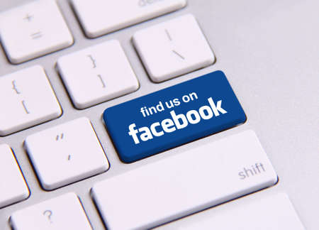 Johor, Malaysia - Sep 13, 2013: Photo of Facebook keyboard. As of today, Facebook is the largest social media network on the web, Sep 13, 2013 in Johor, Malaysia.