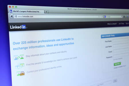 Johor, Malaysia - Sep 13, 2013: Photo of Linkedin website on a monitor screen. Linkedin is a famous online social networking service website, Sep 13, 2013 in Johor, Malaysia. Editorial