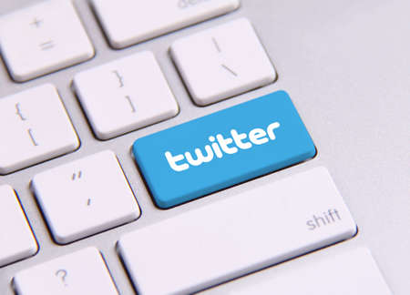 Johor, Malaysia - Sep 13, 2013: Twitter icon on the keyboard. Twitter is famous website in the world, Sep 13, 2013 in Johor, Malaysia.