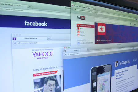 yahoo: Johor, Malaysia - Sep 13, 2013: Photo of Facebook, Youtube, Instagram and Yahoo homepage on a monitor screen. There are famous websitein the world, Sep 13, 2013 in Johor, Malaysia.