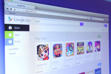 google play: Johor, Malaysia - Nov 03, 2013: Photo of Google Play webpage on a monitor screen. Google Play is the official app store for Android smartphones and tablets., Nov 03, 2013 in Johor, Malaysia.