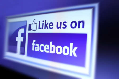 Johor, Malaysia - Sep 13, 2013: Photo of Facebook like icon on a monitor screen. As of today, Facebook is the largest social media network on the web, Sep 13, 2013 in Johor, Malaysia.  Editorial