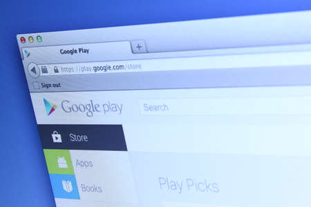 google play: Johor, Malaysia - Dec 03, 2013: Photo of Google Play webpage on a monitor screen. Google Play is the official app store for Android smartphones and tablets., Dec 03, 2013 in Johor, Malaysia.
