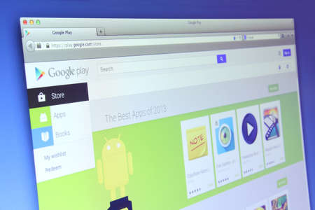 google play: Johor, Malaysia - Dec 05, 2013: Photo of Google Play webpage on a monitor screen. Google Play is the official app store for Android smartphones and tablets, Dec 03, 2013 in Johor, Malaysia.