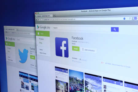 google play: Johor, Malaysia - Dec 05, 2013: Photo of Facebook and Twitter Apps on Google Play. As of today, Facebook and Twitter are largest social media network on the web, Dec 05, 2013 in Johor, Malaysia.