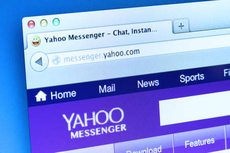 yahoo: Johor, Malaysia - Dec 11, 2013: Photo of Yahoo! Messenger webpage on a monitor screen. Yahoo! Messenger is an instant messaging client created for interacting with the people added in your contact list, Dec 11, 2013 in Johor, Malaysia.