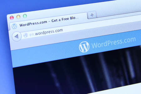 wordpress: Johor, Malaysia - Dec 12, 2013: Photo of WordPress webpage on a monitor screen, WordPress is an online, open source website creation tool written in PHP, Dec 12, 2013 in Johor, Malaysia.