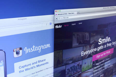 flickr: Johor, Malaysia - Dec 12, 2013: Flickr and Instagram are the web-based photo management application which allows users to upload, organize, and share their favorite photos, Dec 12, 2013 in Johor, Malaysia. Editorial