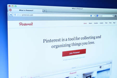 bookmarking: Johor, Malaysia - Dec 11, 2013: Photo of Pinterest webpage on a monitor screen. Pinterest is a social bookmarking site where users collect and share photos of their favorite events, interests and hobbies, Dec 11, 2013 in Johor, Malaysia.