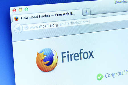 opensource: Johor, Malaysia - Dec 11, 2013  Photo of Mozilla Firefox webpage on a monitor screen  Mozilla Firefox is a free and open-source web browser, Dec 11, 2013 in Johor, Malaysia  Editorial