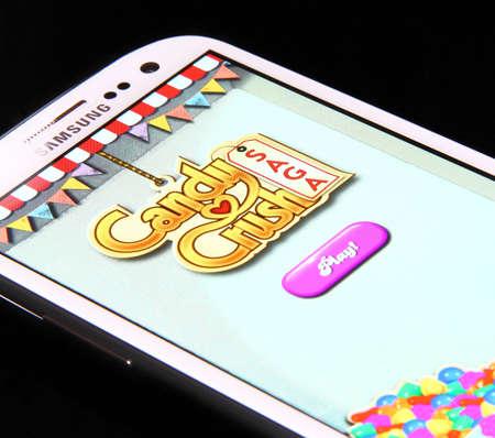 Johor, Malaysia - Jan 1, 2014  Photo of Candy Crush Saga game on a smartphone screen  Candy Crush Saga is famous game on Jan 1, 2014 in Johor, Malaysia