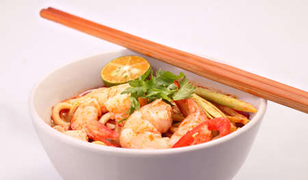 thai noodle soup: Tom Yam  Kung soup  Stock Photo