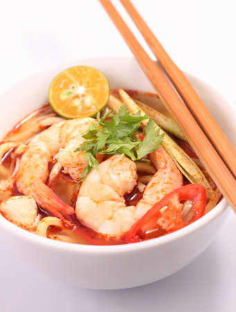 thai noodle soup: Tom Yam is one of Thailands favourite and most well known dish. Stock Photo