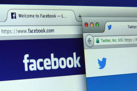 Johor, Malaysia - May 27, 2014: Facebook and Twitter are 2 most popular social networking sites of the world, May 27, 2014 in Johor, Malaysia. Editorial