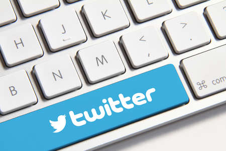 Johor, Malaysia - Jun 14, 2014  Twitter icon on keyboard button, Twitter is a popular free social networking website in the world, Jun 14, 2014 in Johor, Malaysia