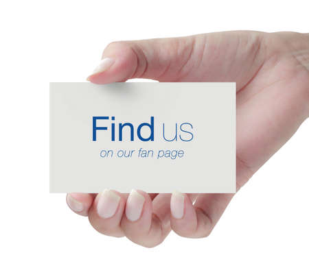 find us: Card with Find Us text in hand